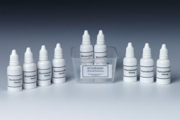 pH-Indikatorlösungen, Set mit 8x20 ml Inhalt