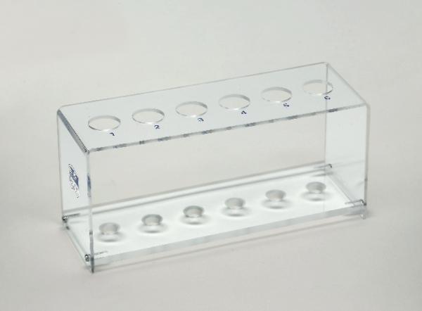 Reagenzglasgestell, Plexiglas, für 6 Gläser