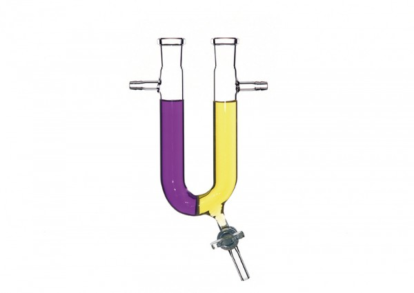 U-Rohr mit Schlauchstutzen, Fritte und Ablaßhahn