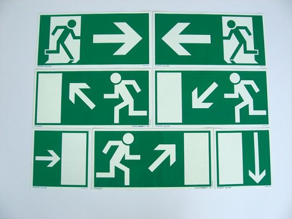 Rettungszeichen Größe 200x400 mm Rettungsweg, Treppe abwärts, links