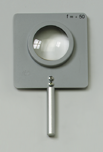 Linse, gefasst, bikonvex, f=+50 mm, mit Stab