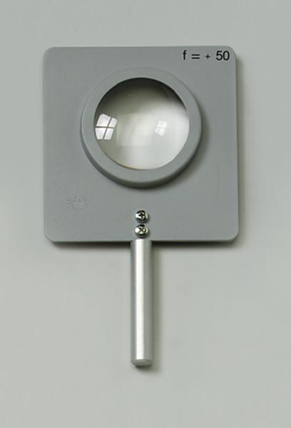 Linse, gefasst, bikonkav, f=–100 mm, mit Stab