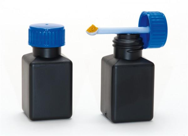Vierkantflasche aus schwarzem PE, mit Dosierlöffel