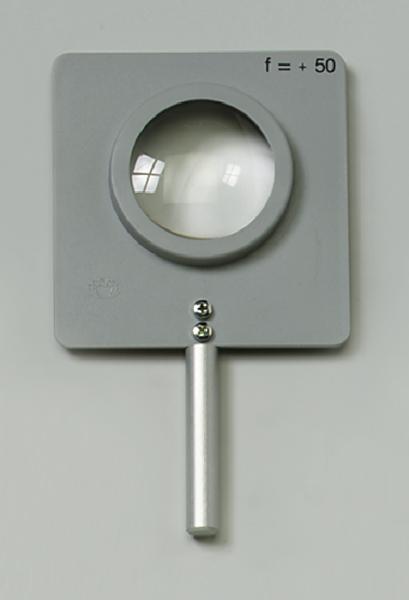 Linse, gefasst, bikonvex, f=+200 mm, mit Stab