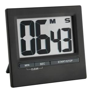 Digitaler Timer und Stoppuhr mit Aluminium-Front schwarz