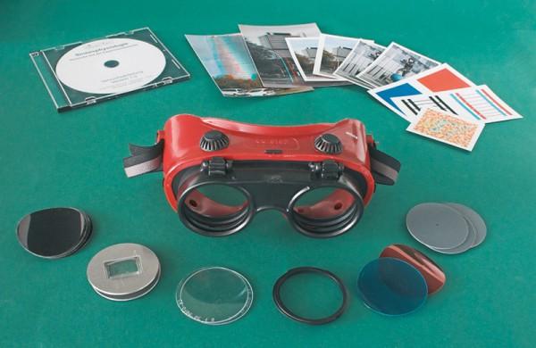Experimentierbrille mit Vorsätzen im Aufberahrungskoffer