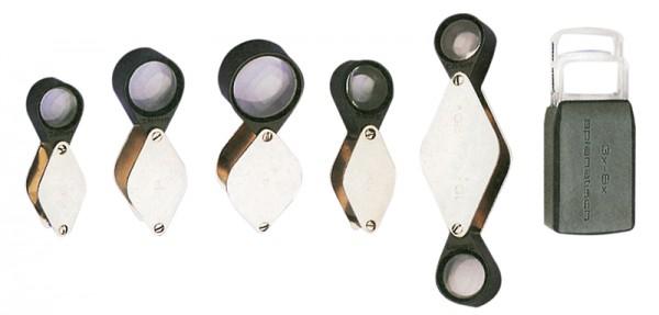 Einschlaglupe mit 2 plankonvexen Glaslinsen und Edelstahlschale
