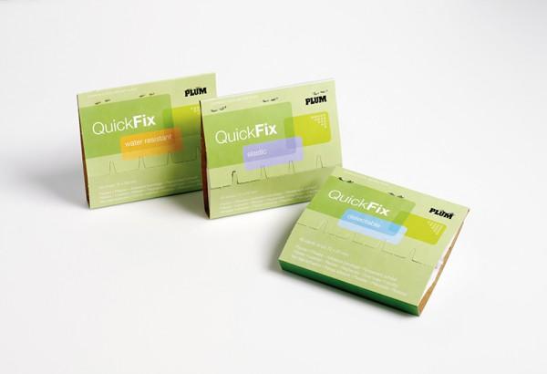 QuickFix Nachfüllpack mit 6× 45 wasserfesten Pflasterstrips im Karton