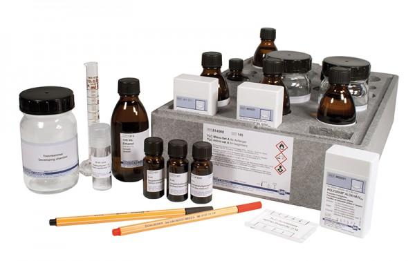 Ergänzungsteile zu TLC Mikro-Set F1 814381420:Kollektion der 4 Einzelkomponenten von Kationen-Testge
