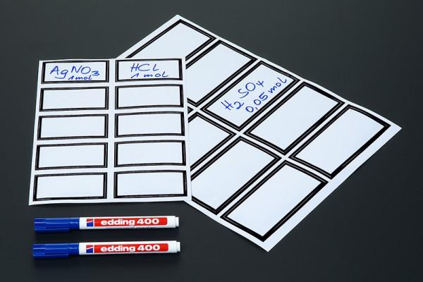 Unbeschriftete Kunststoffetiketten, Bogen mit 10 Stück